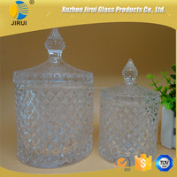 hot sale two sizes glass candy jars, storage jars with lid for decorative