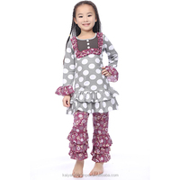 yiwu wholesale baby girls polka dot ruffle cotton outfits,fashion fall baby boutique clothes,girls clothes