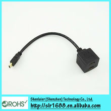 Gold HDMI Male to Dual HDMI Female Splitter Cable Adapter For HD TV