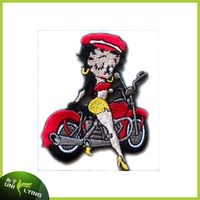 COOL Motorcycle Young Lady Embroidery Patch