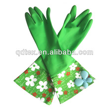 glass cleaning green household latex gloves