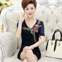 Middle-aged women short-sleeved T-shirt big yards middle-aged mother dress embroidered gauze sleeve knit chiffon s blouse