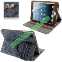 Cowboy Pants Style Leather Cover Case for iPad Mini Retina with 3 Gears and Credit Card Slots
