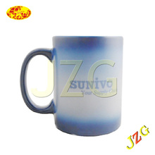 Newest promotional business gift 2014 color changing ceramic mug factory supply hot water color changing mug