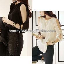 Corea Moda Cut Out abierto de la gasa del hombro flojos Tops Camisa Blusa 3786