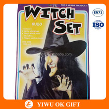 halloween novelty toys witch toys set, witch hat + witch chain and nose+ nails + teeth
