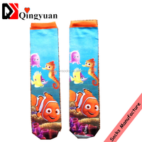 bulk whole sale new style fashion design high quality and low price 3 d cartoon printing tube women socks