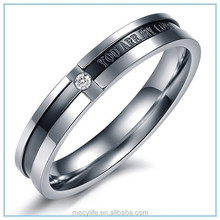 MECY LIFE 4MM width&3G weight inlaid shining dirll diamonds engraved you are my love for wedding ring male and female