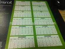 Advertising gift 2016 calendar mouse pad ,custom PVC desk mat best mouse mat