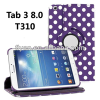 Polka Dot 360 Swivel Cover For Samsung Galaxy Tab 3 8.0 8 inch Tablet SM-T310 Rotating Leather Case Cover Wholesales Hot