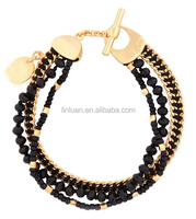 lad's classic black glass beaded and black silk thread multi stands France the St. Tropez Delicate Bracelet