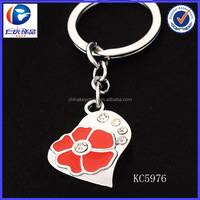 alibaba wholesale high quality beautiful heart shaped key chain with flower