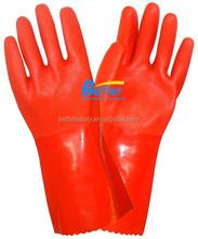 Sandy Finished Hi-Viz Red PVC Wholesale Work Gloves Interlock Lined