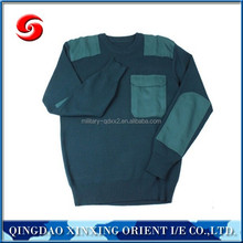 Olive Green Army Wool Sweater Pullover with shoulder and elbow patches