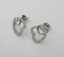 wholesale woman's silver stud earring set lovely heart in heart shape