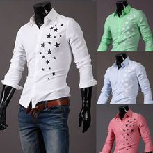 2014 New Hot sale Casual star print slim fit long sleeve dress shirts M/L/XL/XXL Wholesale PA30