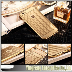 Top selling products 2015 electroplated Diamond Grid Pattern 3D Aluminum mirror mobile accessories for iphone case