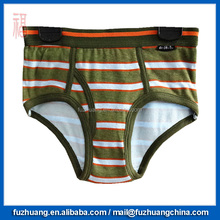 Comfortable Army Green Stripes Men 100 Cotton Boxer Brief Underwear 037