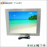 Outdoor IP65 waterproof sunlight readable 17 inch panel mount touch LCD monitor with auto dimming light sensor