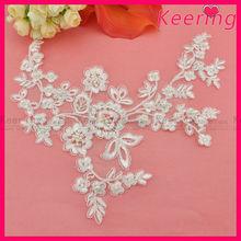 Latest embroidery applique work designs sequin patch lace applique wholesale for wedding dress