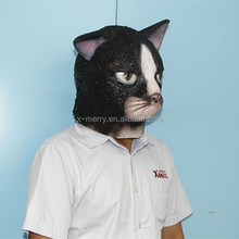 2015 Hot Sale ADULT LATEX BLACK CAT MASK KITTEN KITTY ANIMAL PET COSTUME RUBBER MASKS Masquerade Carnival Party