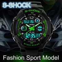 water resistant 50m analog digital plastic dual time outdoor sports luminous watch
