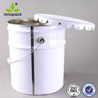 20L white silver round metal paint bucket with flower metal lid