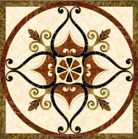 various design round/square water-jet marble medallion-dark emperado/indian green/crystal white