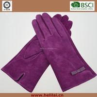 New Fashion Ladies Suede Leather Gloves with Bowknot