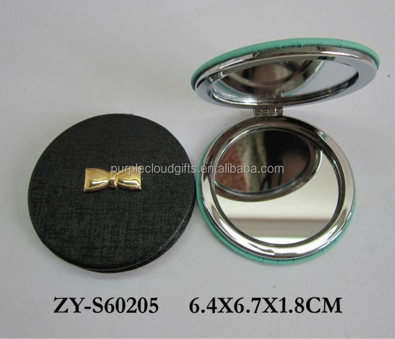 Pu cuir gros miroir compact miroir de maquillage miroir for Gros miroir rond