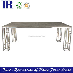 Stainless Steel Legs Dining Table,Solid Wooden(OAK/ELM) Top Dining Table,Square Dining Table