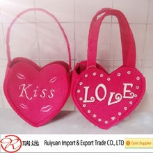 2015 DIY Design Pink Heart-Shaped Beautiful Felt Valentine Bag Made in China