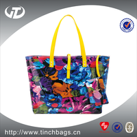 NEW fashion patent leather tote bags for woman ,lady floral designer handbags