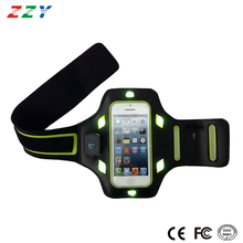 Hot selling armband support key holder black-green running led armband for Iphone 6