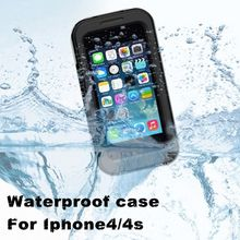 Hot sale free shipping PC + Silicone waterproof for apple iphone 4 4s waterproof case bag underwater back cover case,3colors