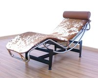 LC4 Chaise Lounge in brown and white