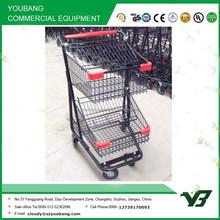 Hot sell good cheap 110 liter zinc with powder double basket shopping cart / supermarket cart(YB-A29)