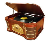 Luxury Retro wooden gramophone with CD, Cassette, USB, bluetooth, AM FM radio