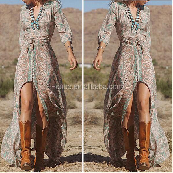 As mulheres Da Forma Da Senhora Causal Manga Comprida Praia Boho Bohemian V Neck Floral Dividir Longo Maxi vestido de Verão Vestido