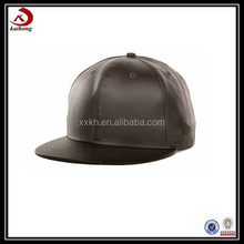 Custom black flat leather plain brim snapback caps wholesale