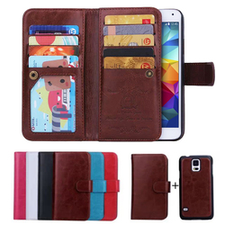 Best Selling 9 Card Slot Wallet Leather Case for Samsung Galaxy S5, For Samsung Galaxy S5 Leather Case