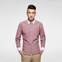 superior quality online store pink stripe white collar button down custom shirt for men
