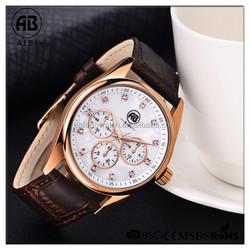 AIBI-43001 accept small quantity print logo cheap luxury leather alloy watch men