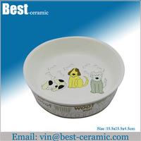 cute printing dog ceramic pet bowl