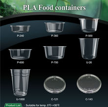 T-PLA-T 23 24 oz clear plastic food disposable container PLA bowls