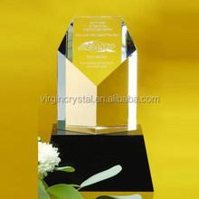Logo impreso claro K9 de cristal premios trofeo placa cuadrado con Base cristal negro