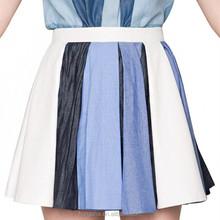 Latest Denim pleated skirt colorful short skirts fashion 2015 HSK6334