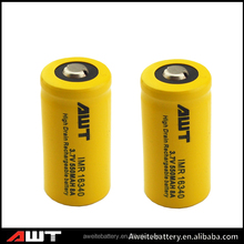 AWT 16340 550mAh high drain 3000mAh 3.7V rechargeable flat lithium battery battery prices in pakistan
