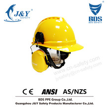 High Degree Protection Miner Helmet Safety Helmet Mining Cap with ear muffs & ear plugs