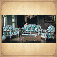 Foshan Blue Floral Uphostered Antique Fabric Sofa Furniture Foshan China Mediterranean Style Furniture